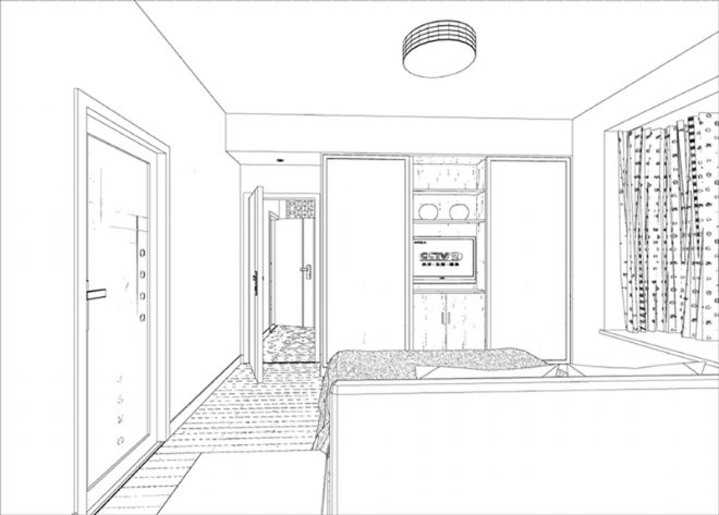小周的卧室带书房手绘图02-张真伍的设计师家园-现代