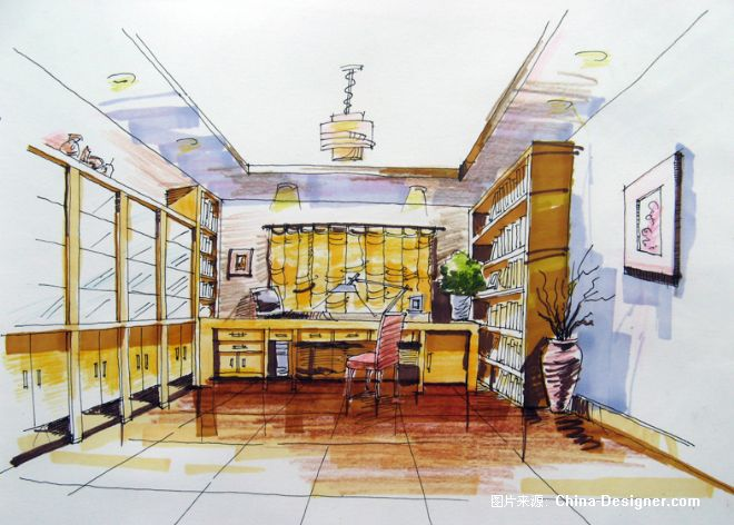 手绘书房-赵化彪的设计师家园-书房图片