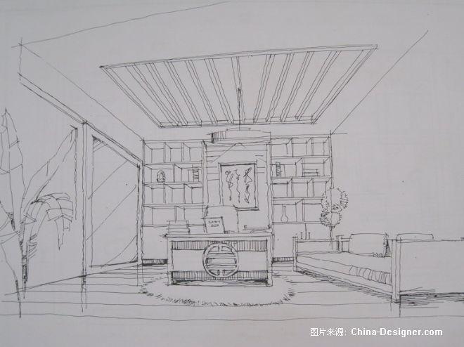 室内手绘书房线稿