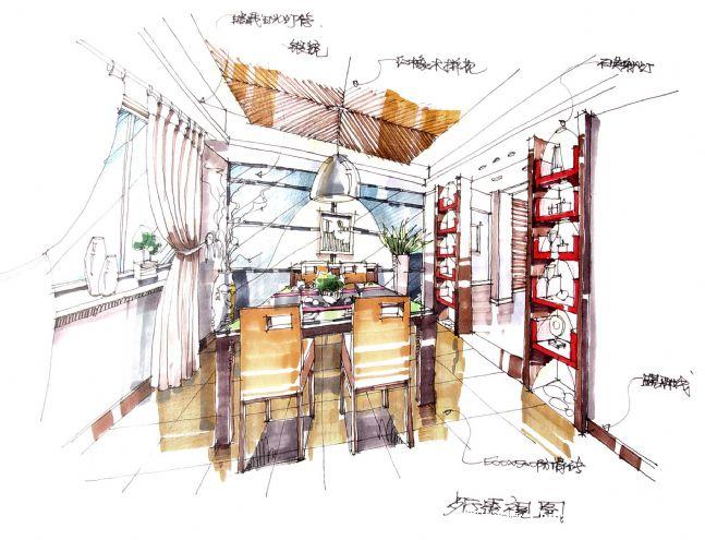 6,餐厅手绘上色图-王克晖的设计师家园-50-100万