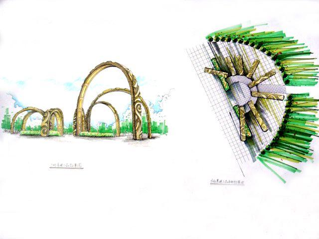 广场景观小品3-周锐的设计师家园-广场景观手绘效果