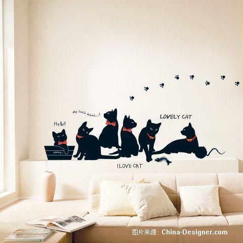 手绘墙画猫图片