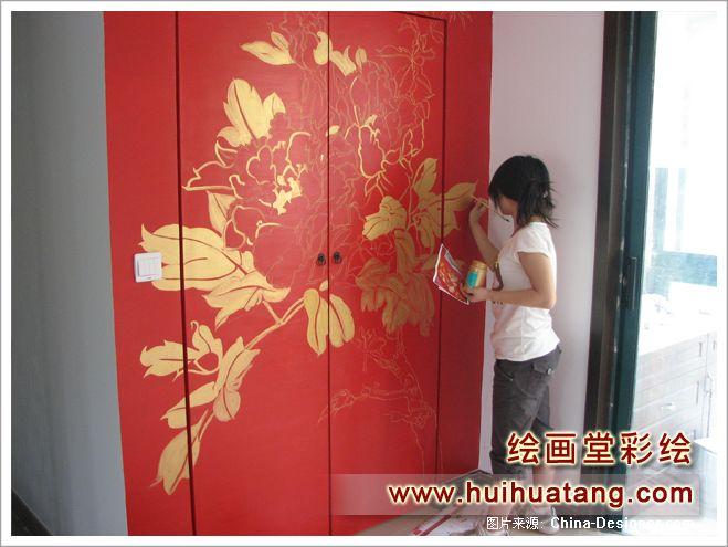 手绘墙画,客厅,红色,中式
