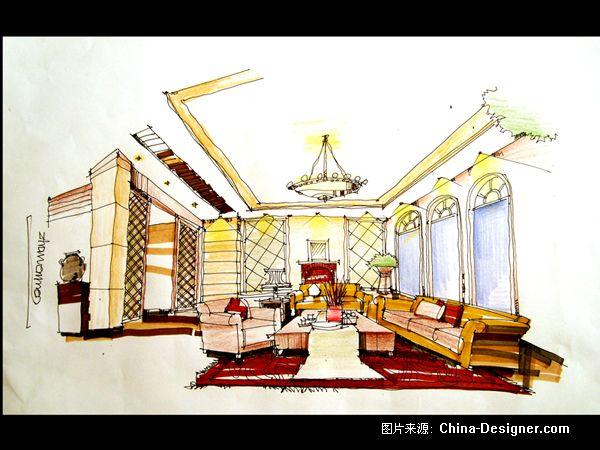 欧式客厅透视手绘图_欧式客厅透视手绘图分享展示图片