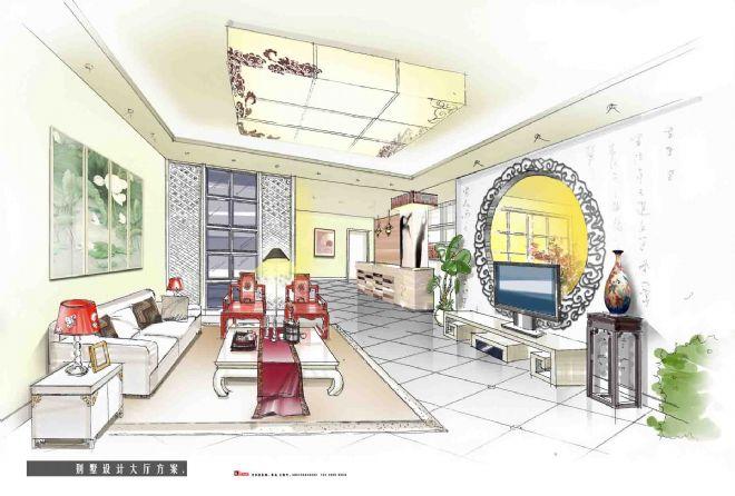 马克笔手绘中式客厅,室内设计