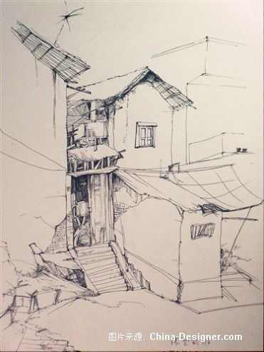 写生速写65-傅枫嘉的设计师家园-风景,写生,素描,速写