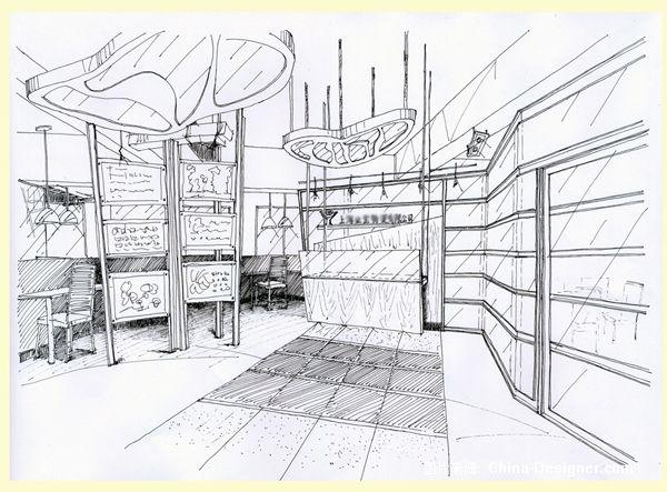 前台区域手绘效果图-黄兆然的设计师家园-现代
