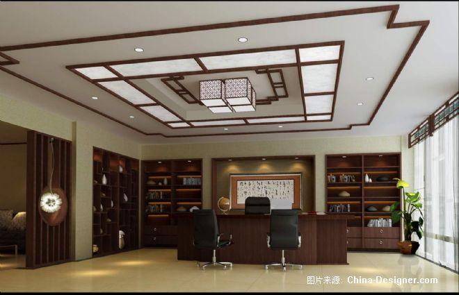 总裁办公室效果图1-石传的设计师家园-中式