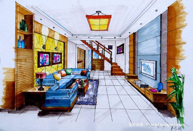 客厅手绘效果图1-长城的设计师家园-中式
