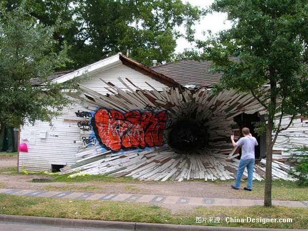 街头3D绘画 很逼真 - hanwa - 心.灵.的家园