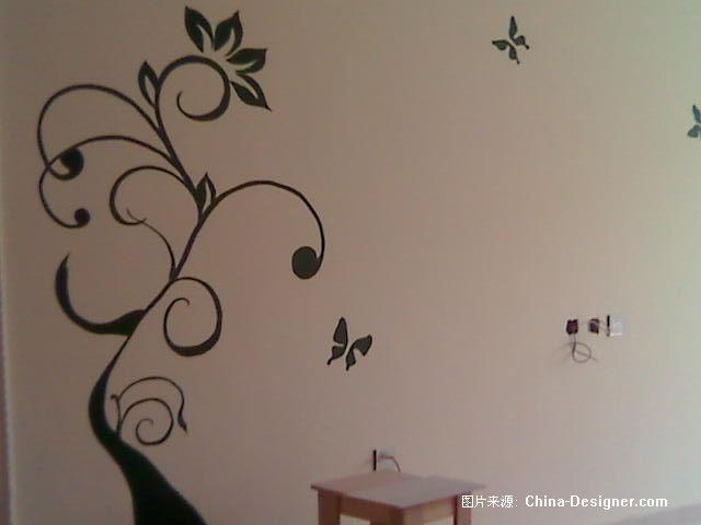 手绘背景墙实物照片-孙迪的设计师家园-1-5万,三居,客厅,绿色,现代