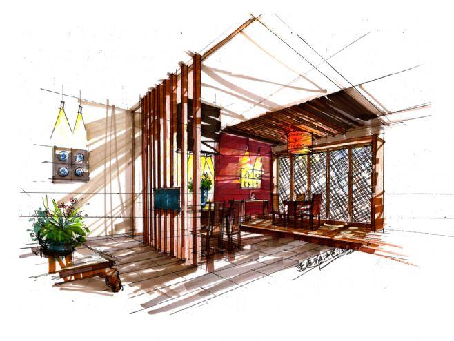 中包房效-杨飞的设计师家园-旧房改造,餐饮,手绘效果图,新中式,主题花