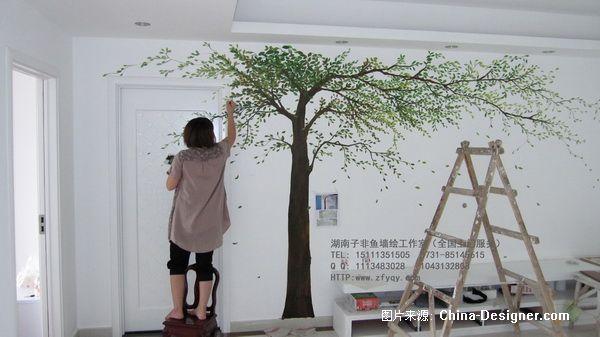 手绘电视背景墙彩绘墙绘-长沙墙绘公司-子非鱼手绘墙的设计师家园