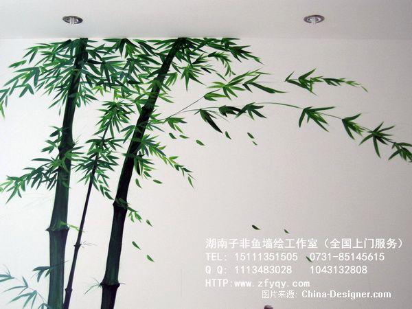 手绘竹子电视背景墙-长沙墙绘公司-子非鱼手绘墙的师