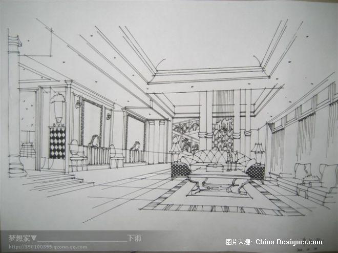 室内手绘表现-下雨____的设计师家园-客厅