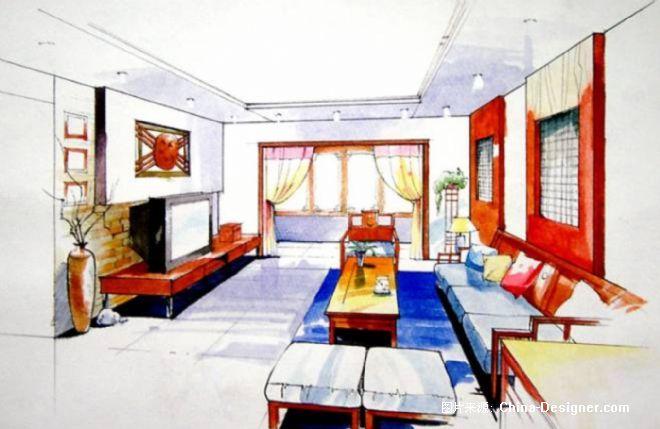 高清室内设计手绘图马克笔
