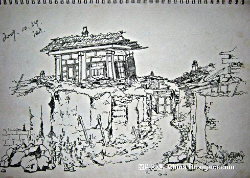 素描画风景 步骤 田园