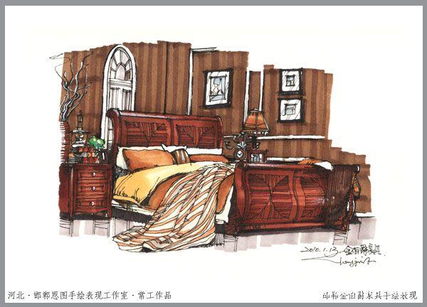 单体示范·邯郸金伯爵家具手绘表现-(邯郸)恩图设计的设计师家园-设计
