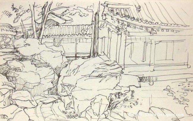 景观平面手绘稿黑白