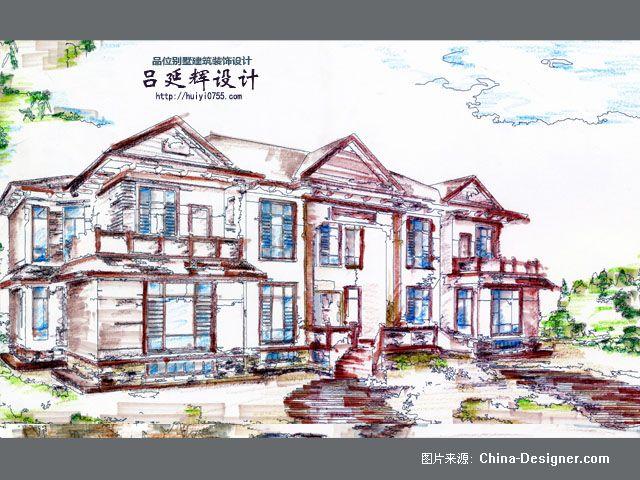 现代中式外观立面图手绘-吕延辉的设计师家园-200万以上,别墅,客厅