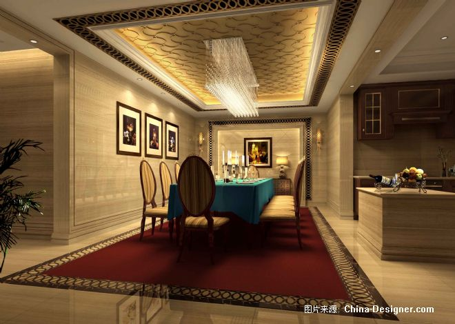 b户型西餐厅效果图-章建华的设计师家园-别墅,中式