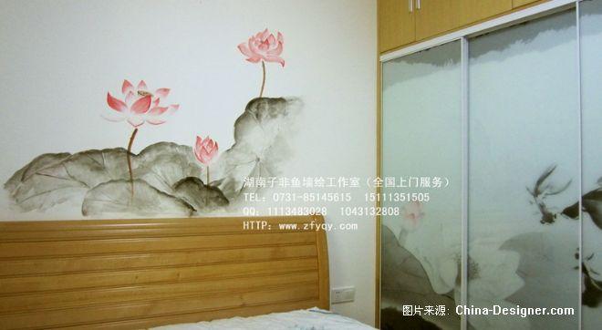 水墨荷花-手绘卧室床头背景-长沙墙绘公司-子非鱼手绘墙的设计师家园