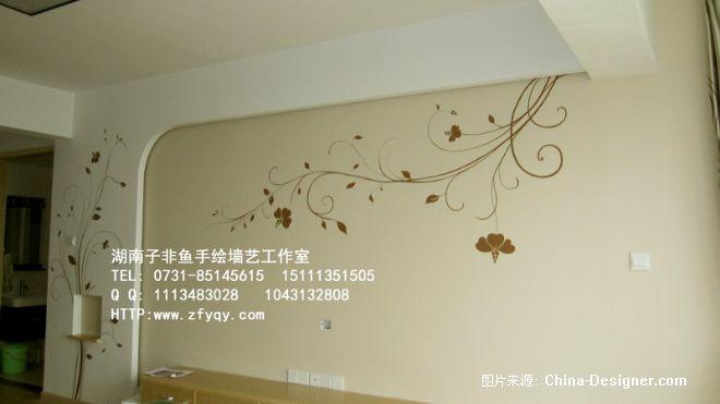 《手绘电视背景墙简约藤》-设计师:长沙墙绘公司-子非