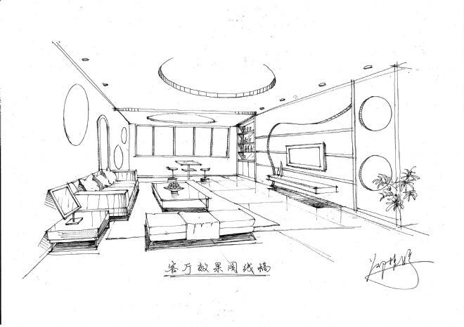 《客厅效果图线稿,gj》-设计师:设计精英部队