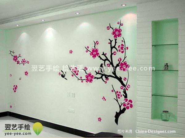 彩绘电视背景墙手绘墙绘-北京手绘墙的设计师家园-1-5万,二居,客厅,红