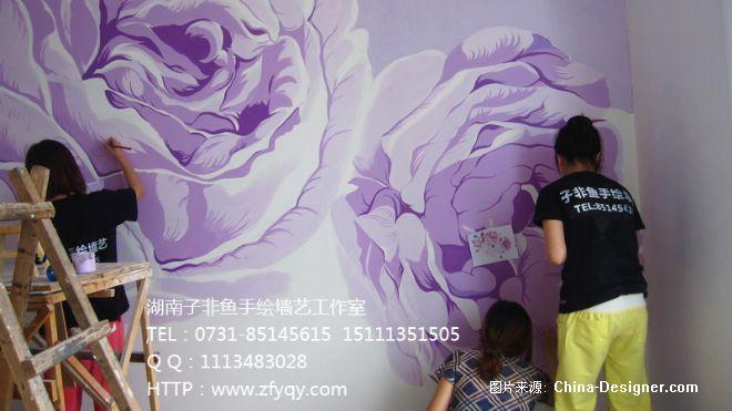 彩绘-长沙墙绘公司-子非鱼手绘墙的设计师家园-背景墙,手绘大气玫瑰花