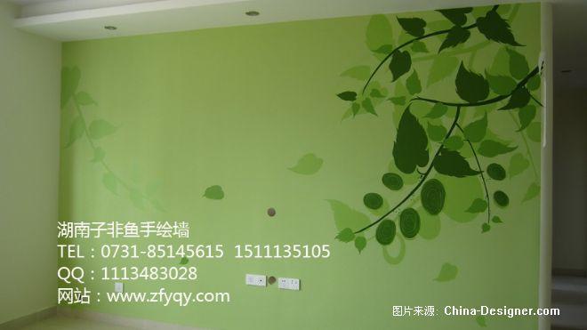 简约绿色电视背景墙手绘墙画-长沙墙绘公司-子非鱼手绘墙的设计师家园