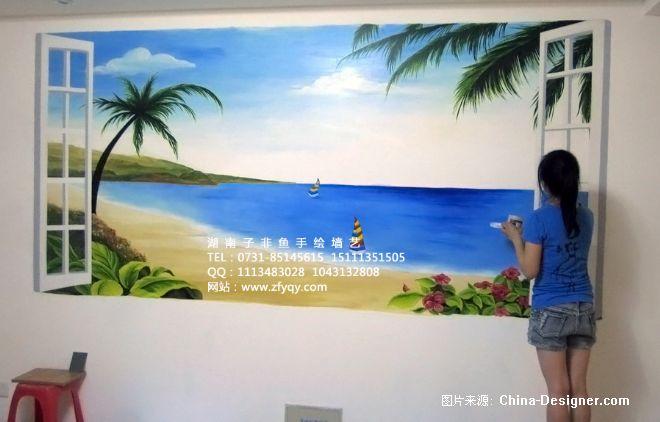 《大海沙滩墙绘》-设计师:长沙墙绘公司-子非鱼手绘墙