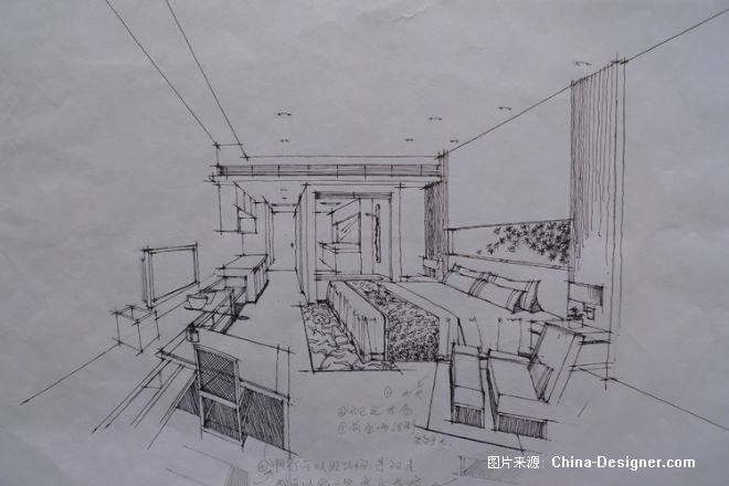 室内手绘线稿-何文婷的设计师家园-温馨,卧室
