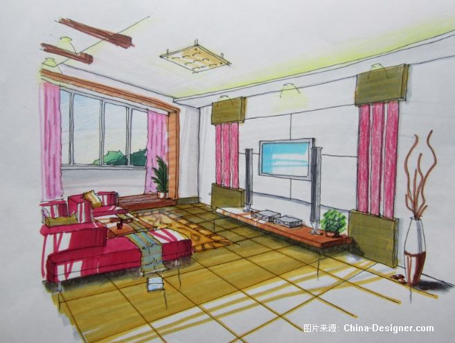 客厅两点透视-郭振伟的设计师家园-郭振伟