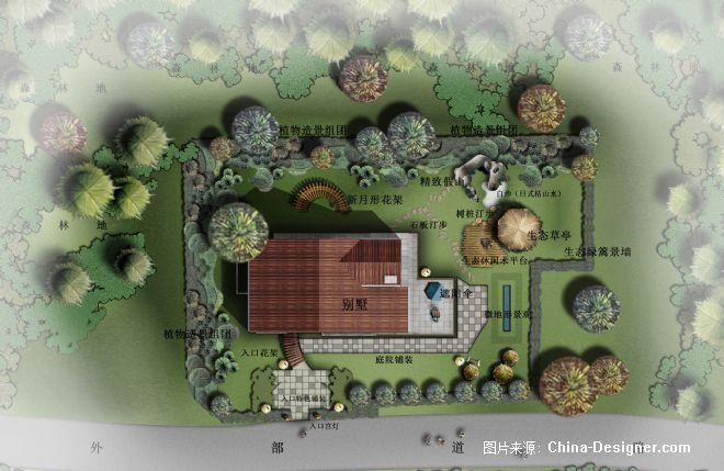中式庭院景观手绘平面