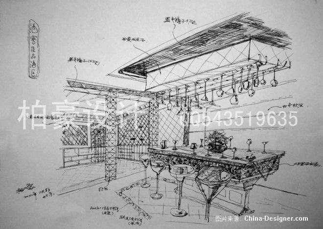 欧式独栋小别墅素描图