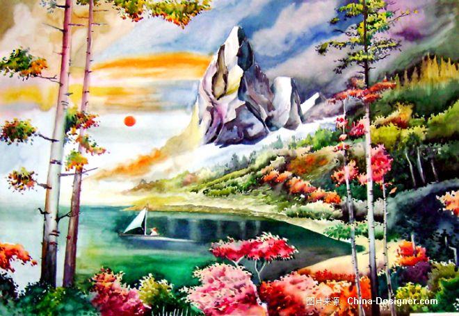 仙湖 水彩画
