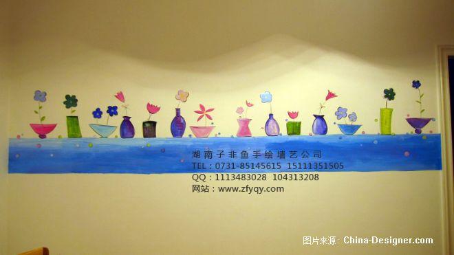 手绘墙画简约时尚餐厅-长沙墙绘公司-子非鱼手绘墙的