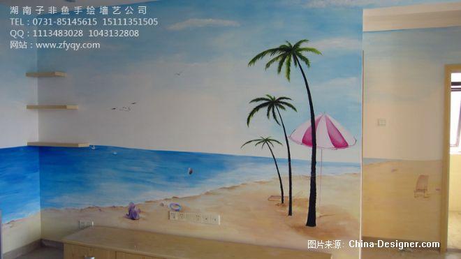手绘海景电视背景墙-长沙墙绘公司-子非鱼手绘墙的设计师家园-手绘