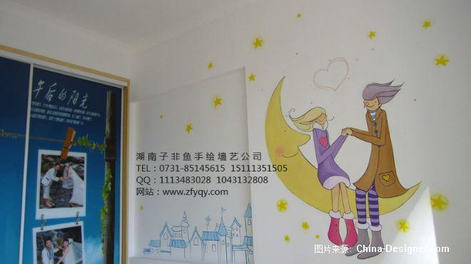 《手绘卧室背景墙唯美插》-设计师:长沙墙绘公司-子非
