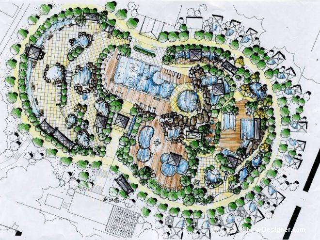 南宁大王滩度假村温泉区手绘方案-房志伟的设计师