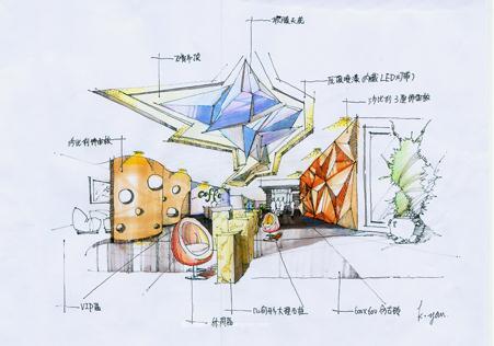 咖啡厅手绘效果图-何坤妍的设计师家园:::何坤妍的师
