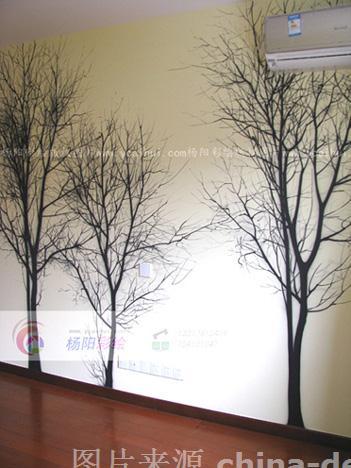 昆山卧室手绘树,昆山墙绘,张家港手绘树装饰-昆山手绘墙昆山墙体彩绘
