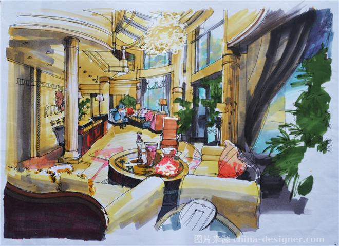服务大厅手绘效果图-王世健的设计师家园-373206,2593