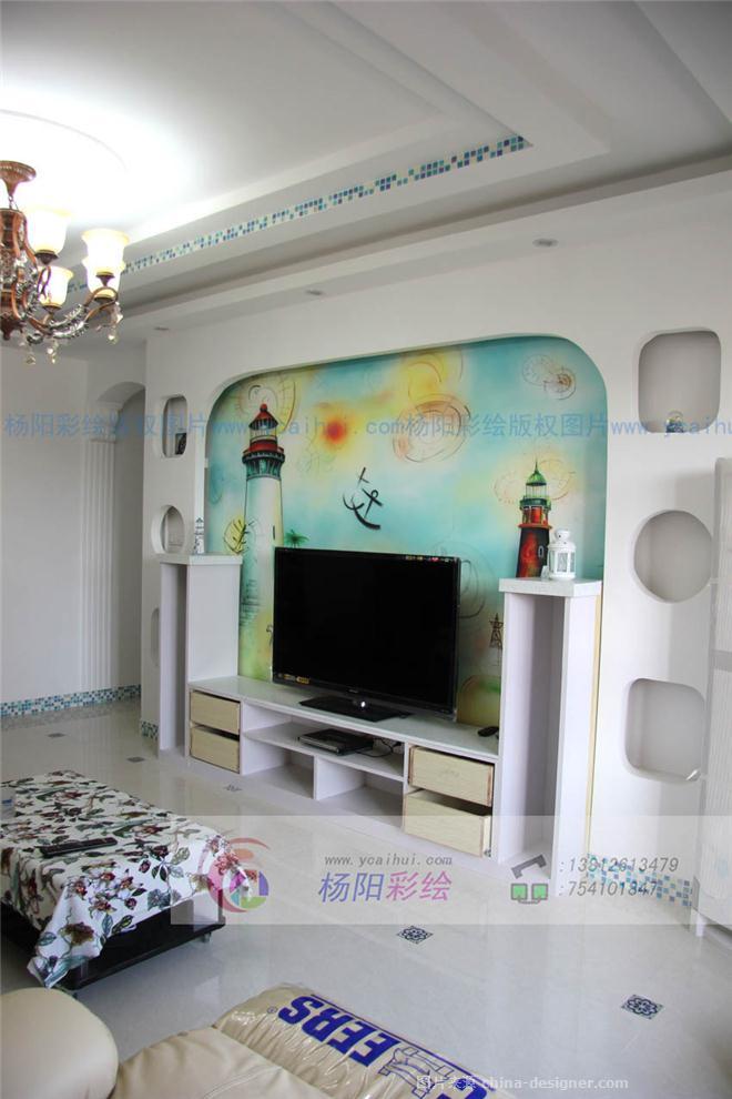 苏州地中海风格手绘墙-手绘灯塔-苏州手绘墙的设计师家园-468842