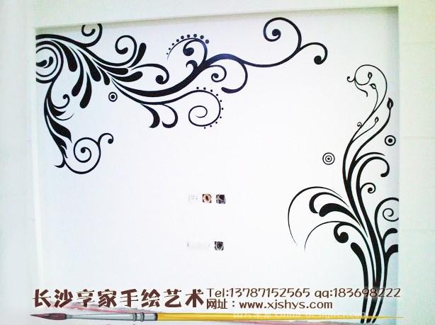 简约藤蔓电视背景墙-湖南享家手绘的设计师家园