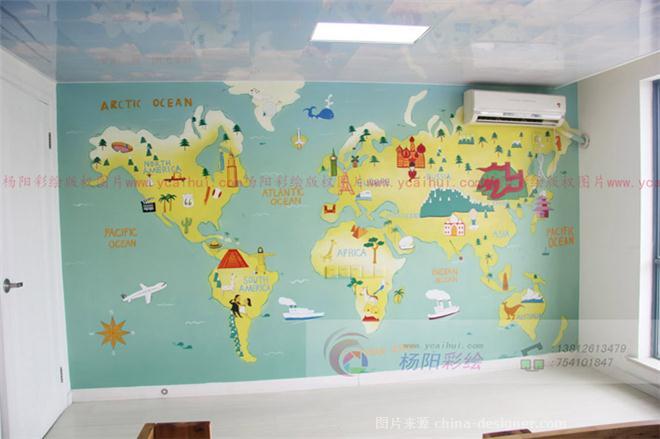 手绘卡通版世界地图_杨阳彩绘;