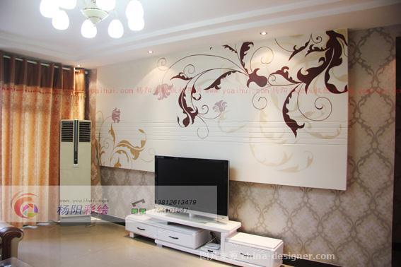 《扬州电视背景墙手绘墙》-设计师:杨阳