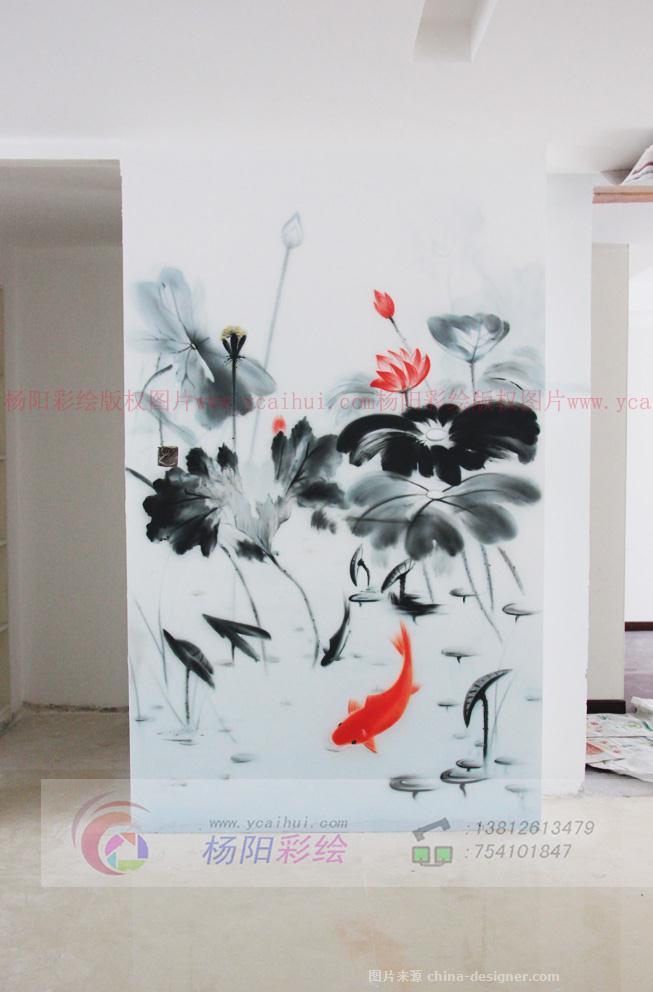 端景墙手绘墙,水墨效果壁画-杨阳的设计师家园-479561
