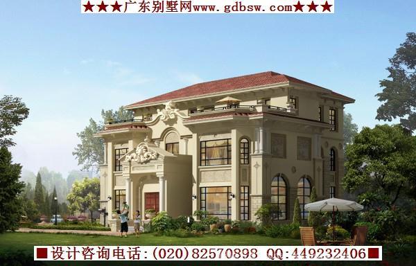 《三层欧式别墅建筑效果》-设计师:广州别墅建筑设计
